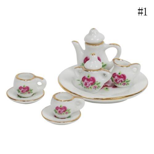 Set of 15  1:12  Doll House Mini Rose Design Ceramic Set Dish Cup Plate
