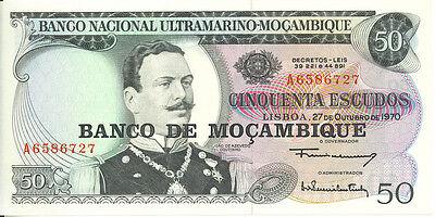 1970 Mozambique Portugal Colony Banco Nacional Ultramarino 50 Escudos Unc P-111 Beneficial To The Sperm