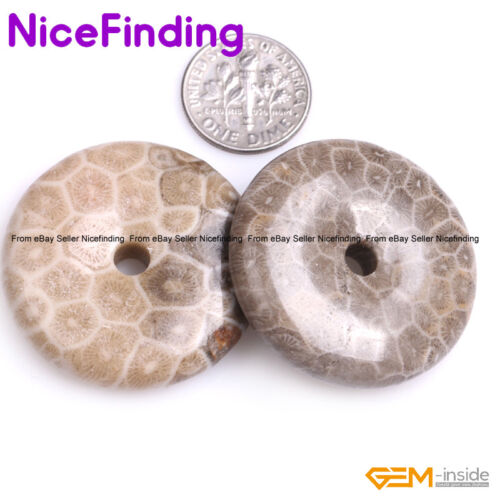 Natural Round Donut Ring Necklace Pendant Beads For Jewelry Making 20,30,40,50mm