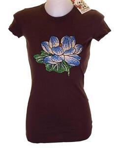 Autentico-con-etiqueta-Mujer-Ed-Hardy-Estras-Camiseta-XS-cuello-redondo-NUEVO