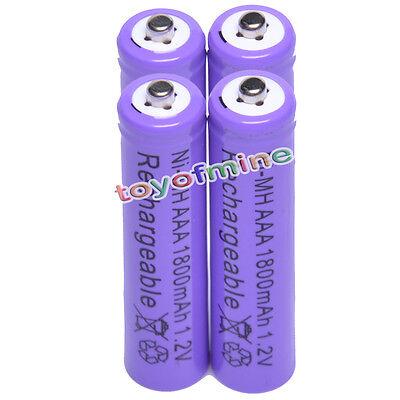 4 AAA 1800mAH 1.2V Rechargeable Battery digital purple