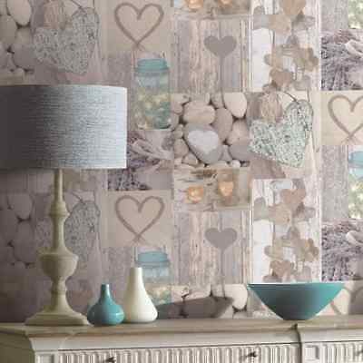 OPERA FUN NATURAL HEARTS RUSTIC NOVELTY SHABBY QUALITY ARTHOUSE WALLPAPER 669600