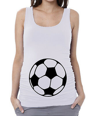Soccer Ball White Maternity Tank Top Pregnancy Baby Shower Tee Shirt Gift V136