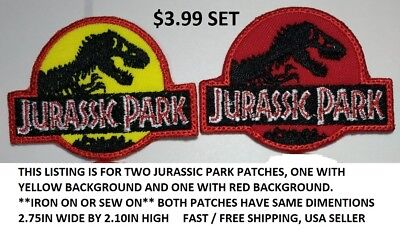 "Jurassic Park The Lost World Embroidered Sewn//Iron On Patch 5 1//2/"" Wide Set of 3"