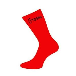 RED Nevison Wedding Vinyl Printed Script Socks with Black Text in Various Roles