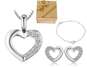 SET-Herzkette-Armband-Ohrstecker-925-Silber-Halskette-Geschenke-Damen-Frauen