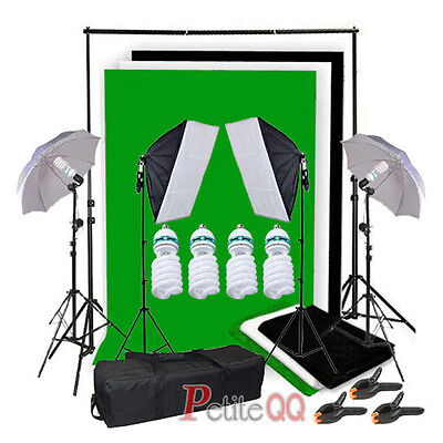 Photo Studio Umbrella Softbox Lighting Kit Backdrop Background Stand Clamp Set