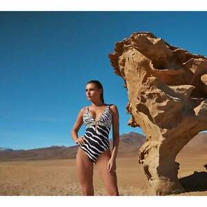 skilful manufacture hoard as a rare commodity select for newest Details about Jets Swimwear Australia Selva Deep Plunge Zebra Print Swimsuit