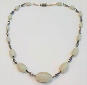 Vintage-Art-Deco-Czech-Uranium-Glass-Opaque-Beads-Necklace-Poss-Max-Neiger-1930s