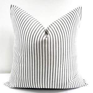 "Black Classic Stripe Pillow Cover. Black & White Cotton.Made In Usa.Select Size by ""Handmade"""