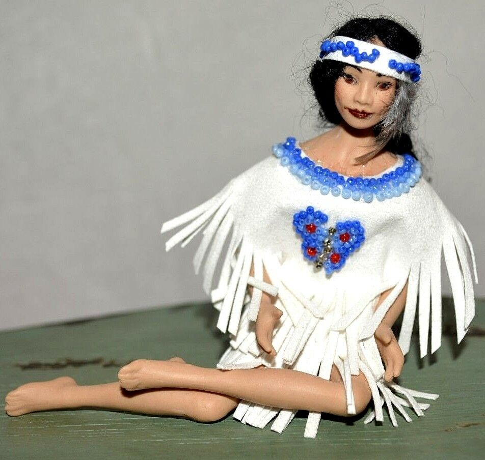 Miniature Bisque Doll Lady Woman Artisan Dollhouse 1 12 Native American Indian