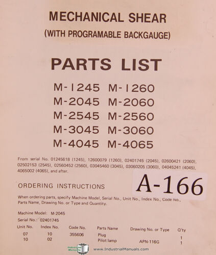 Amada M Series 1984 Mechanical Shear Parts List Manual Year