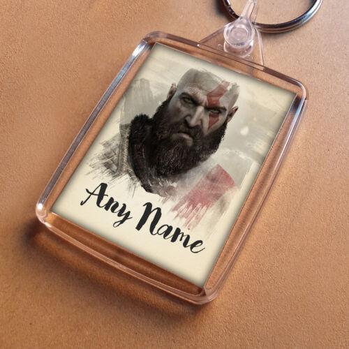 Party Bag Filler Keychain Birthday Son Dad Boys GOD OF WAR Personalised Keyring