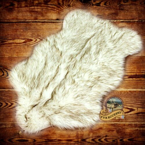 FUR ACCENTS Arctic Wolf Area Rug Brown TIp Shag All Sizes