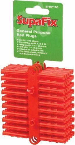 SupaFix General Purpose Plugs Red Pack 100 Plastic  Nylon Fixings SFRP100