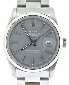 Mens-Rolex-Datejust-Stainless-Steel-Watch-Oyster-Domed-Bezel-Gray-Dial-16030