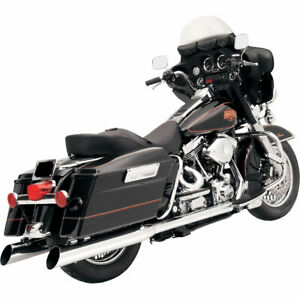 Bassani-4-034-Slip-On-Chrome-Slant-Cut-Mufflers-2-034-Baffle-1995-16-Harley-Touring