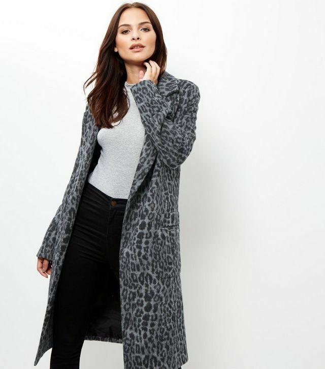 New Look Tall Grey Animal Print Longline Coat Uk 16 Ln008 Cc 15 Quality And Quantity Assured