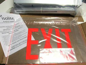 *NIB Isolite Elite ELT Series LED Edgelit Exit Sign Cat# ELTEMR1CBARCUC.. UL-800