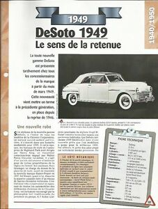 VOITURE DESOTO S 13 - FICHE TECHNIQUE AUTO 1949 COLLECTION CAR