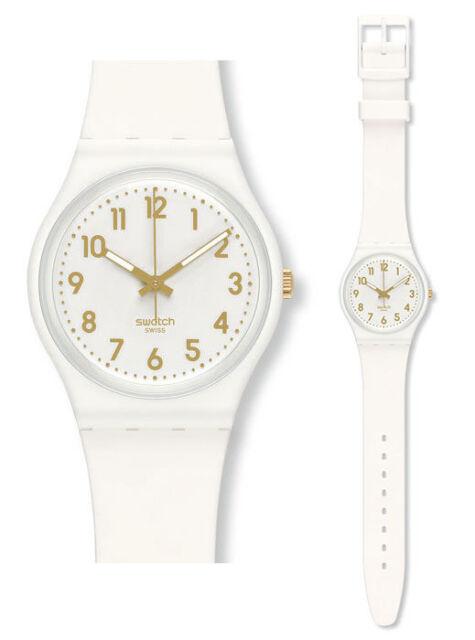 Swatch White Bishop Watch GW164 Analogue Silicone White