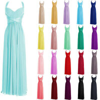 STOCK New Long  Bridesmaid Formal Chiffon Prom Party Ball Evening dress Size6-18