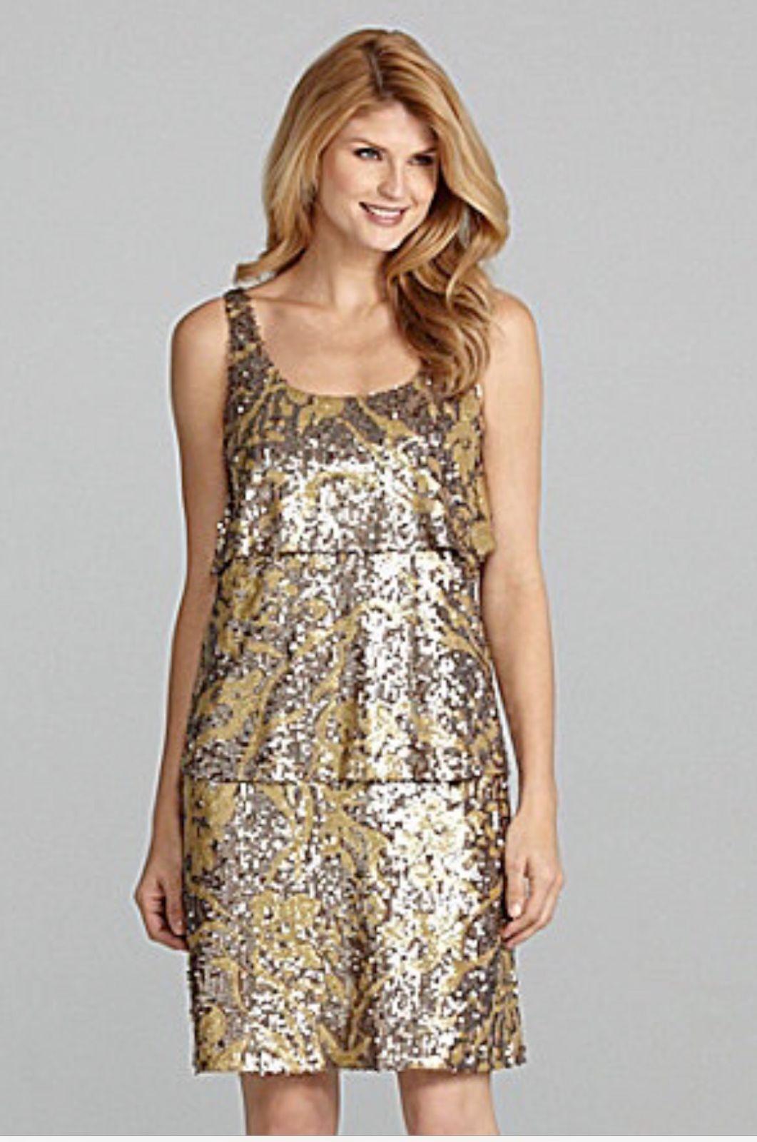 Antonio Melani - Größe 6 Gold Dunkel Seabed Maddy Abgestuft Paillette Kleid H