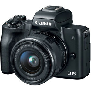 Canon EOS M50 Mirrorless Digital Camera - Black with 15-45mm Lens 636983113729