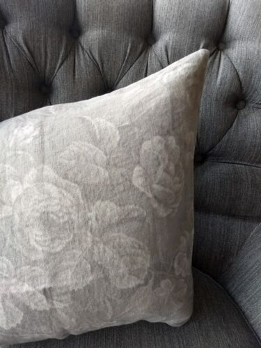 """Pottery Barn Arielle Floral Print Pillow Cover 22/"""" Rustic Cottage Gray NEW NWT"""