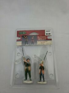 Lemax village collection flyfishing with dad 2001 #12495 new figure set of 2