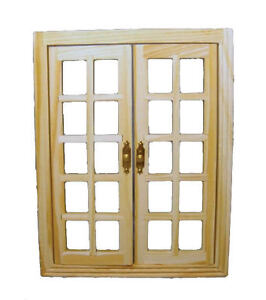 Wooden Opening French Windows Doll House Miniature Diy Fixtures Ebay