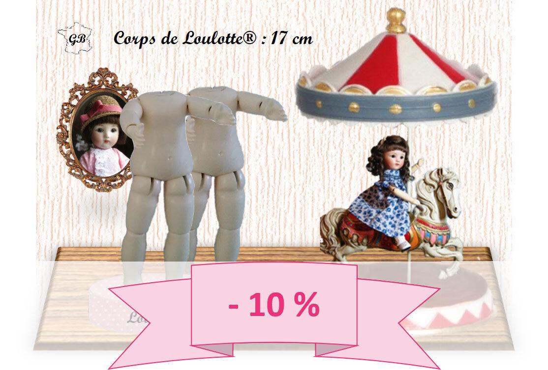 PROMO 10% - 2er Satz Körper Größe LOULOTTE für Puppe antik Höhe 17 cm