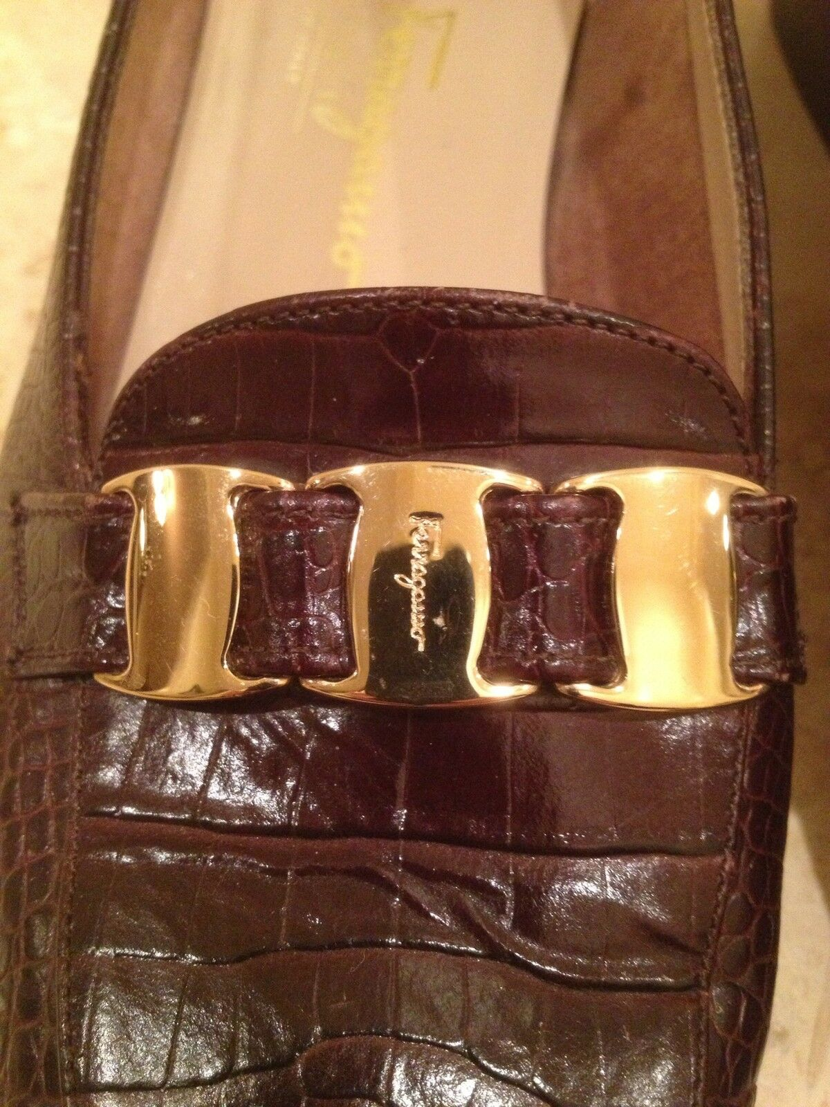 Salvatore Ferragamo Brown Crocodile Embossed Leather Gold Buckles 8 AA Italy