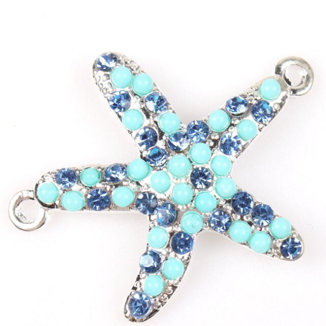8pcs 145514 Silver Tone Faux Blue Pearl Sea Star Charms Alloy Connector Pendant