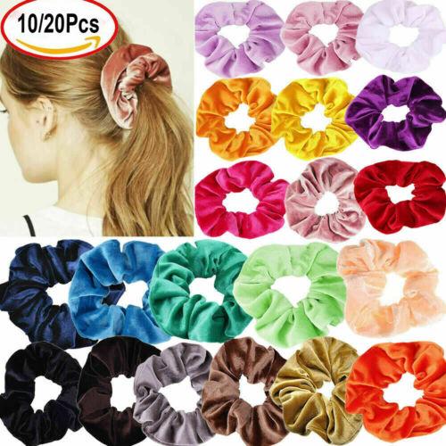 10//20Pcs Hair Scrunchies Velvet Elastic Hair Bands Scrunchy Hair Ties Ropes CA