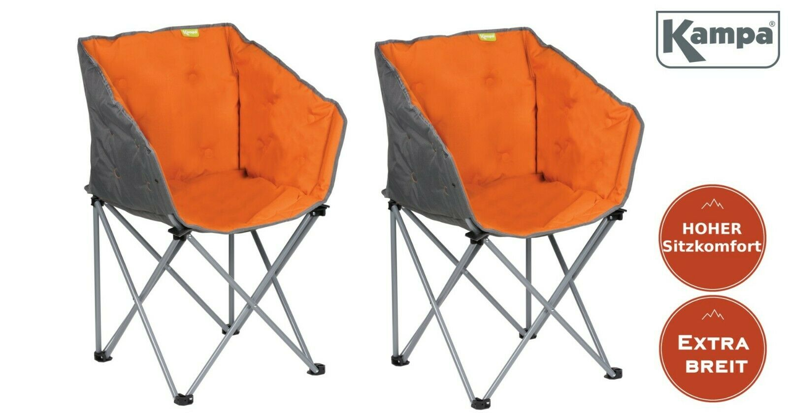 2 x Design Lounge-Sessel komplett gepolstert Campingstuhl Campingsessel Orange