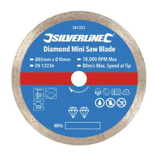 10mm Calibre Véritable Silverline Diamant Mini Lame de Scie 85mm Diamètre