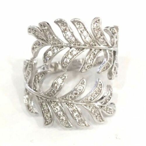 Handmade .75 Ct Diamond Leaf Feather Ring Women Jewelry Gift