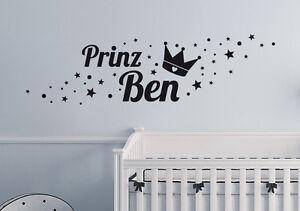 Prinz name sterne kinderzimmer deko baby wunschname wandaufkleber wandtattoo ebay for Sterne deko kinderzimmer