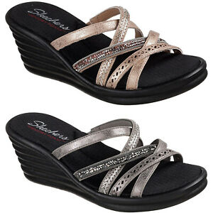 19cff7d19a77f Details about Skechers Rumblers Wave - New Lassie Sandals 31777 Womens  Wedge Strap Summer Shoe