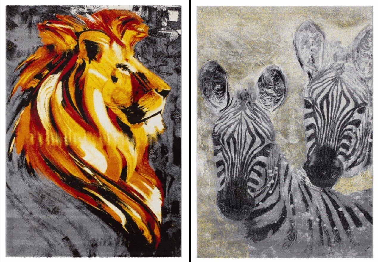 moderne qualité SAFARI art animalier Design et zèbre et Design Lion Tapis en 2 tailles 45ba8d