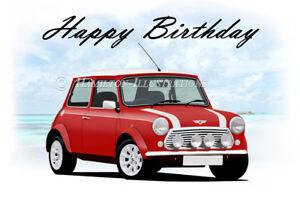 Classic Mini Cooper 21st 40th 50th 60th Birthday Car Dad Greetings