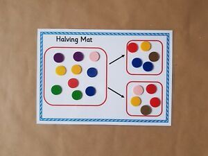 Halving Mat and Counters, Numeracy, maths, EYFS, KS1, SEN Teaching ...