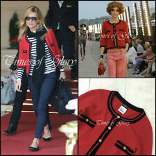 NEW Iconic Chanel CC Logo Red CASHMERE Cardigan Sweater Jacket Size XS FR34 US2