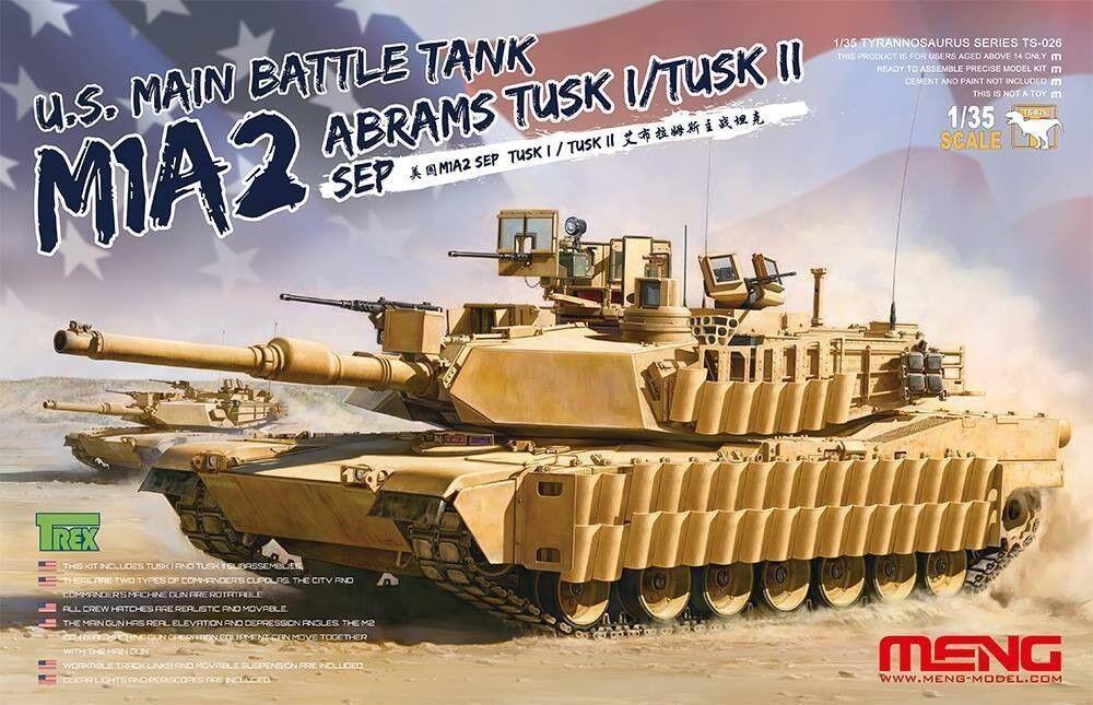 Meng U.S Mani Battle Tank M1A2 Sep Tusk I  Tusk II Escala 1 35
