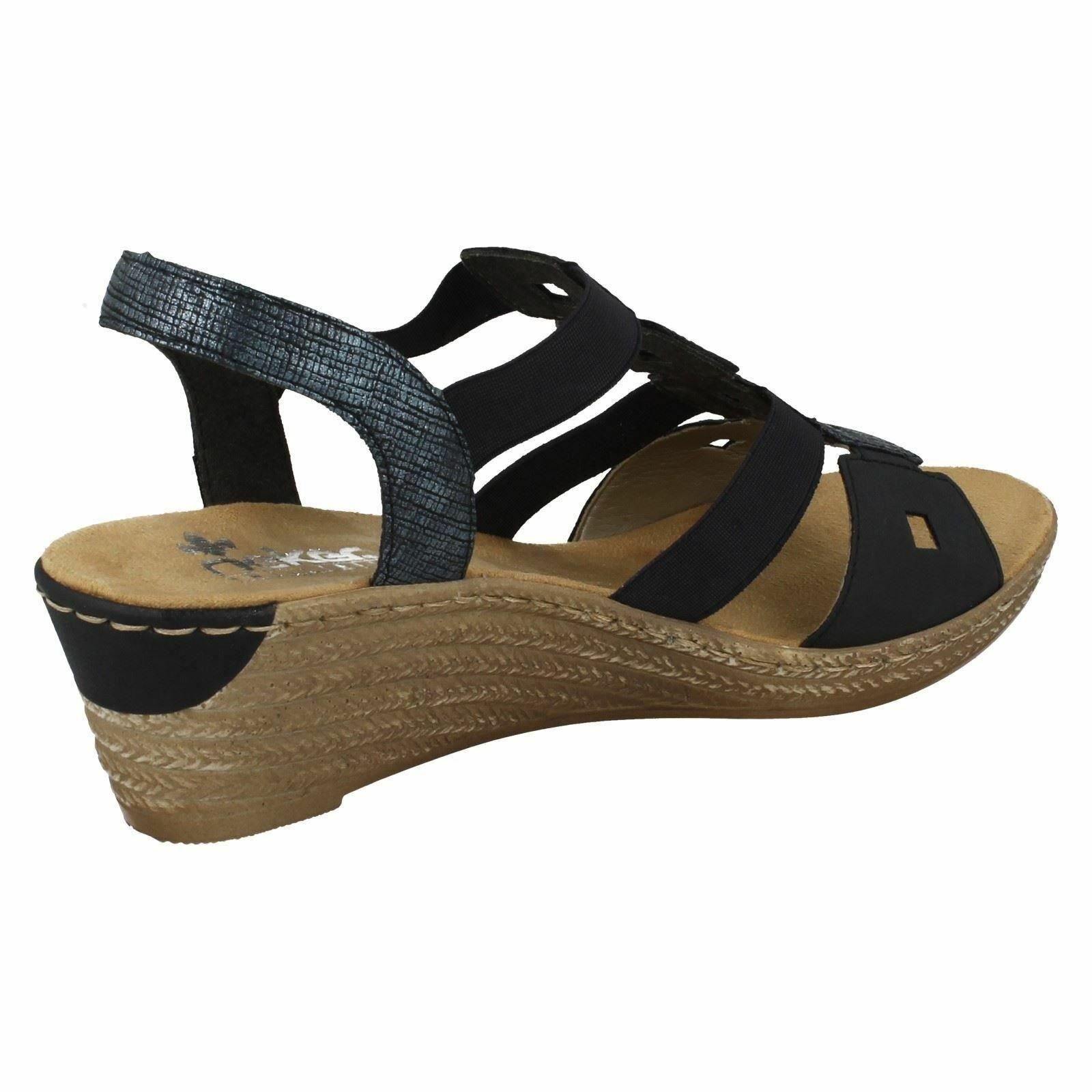 Femmes Noir/Bleu Marine Bride Arrière Arrière Arrière Rieker des sandales compensées 62488 e68372