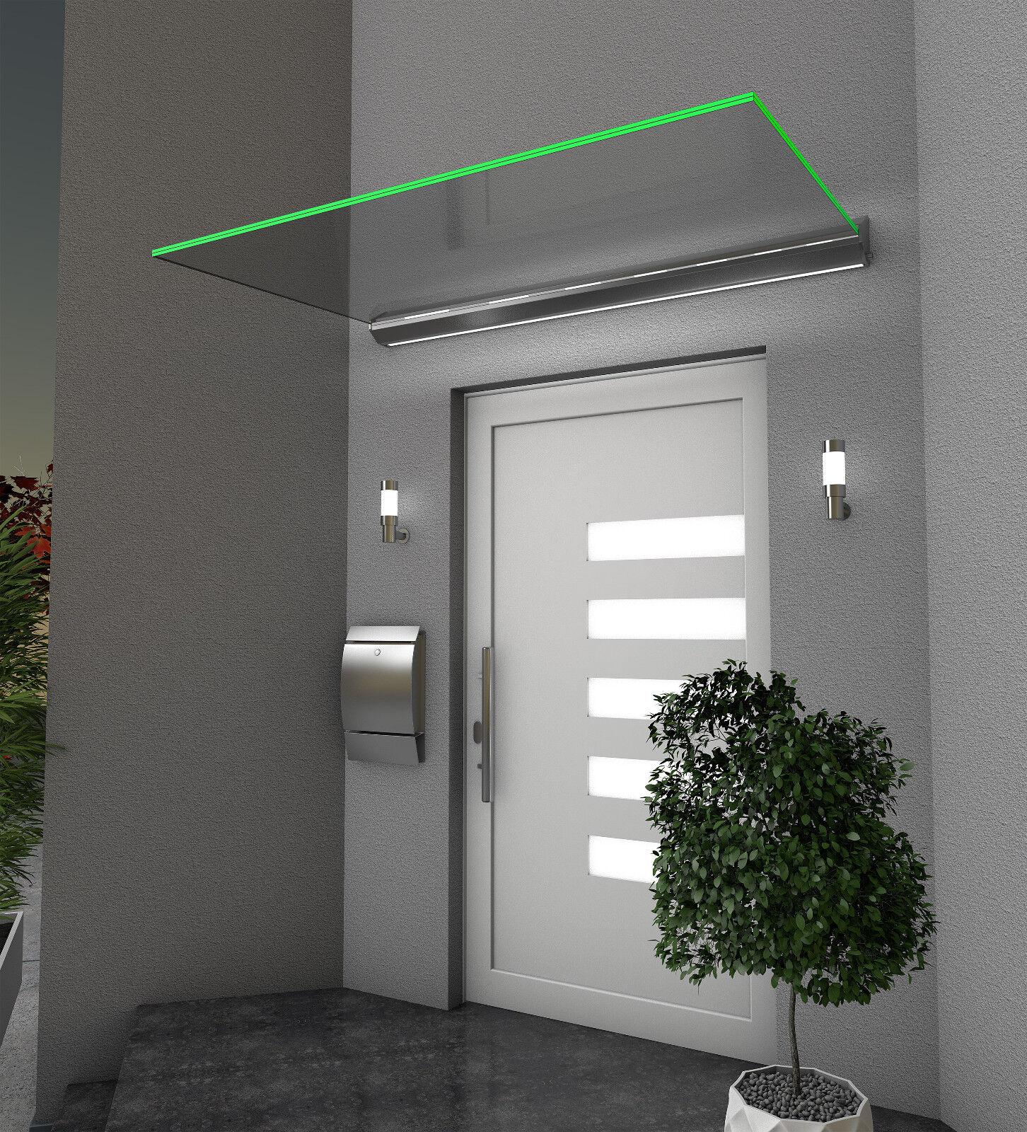 Gutta Echtglasvordach HD LED - Haustürvordach 160 x 100 cm mit LED-Beleuchtung