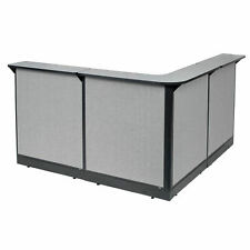 80w X 80d X 46h L Shaped Reception Station With Raceway Gray Countergray