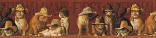 Western Cowboy chat dans chapeau de papier peint bordure EL49028B