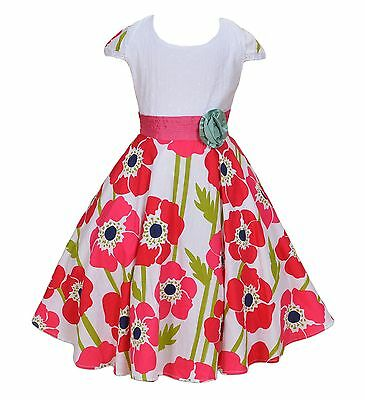 New Girls White And Hot Pink Flower Party Dress In 6 7 8 9 10 Years Ebay